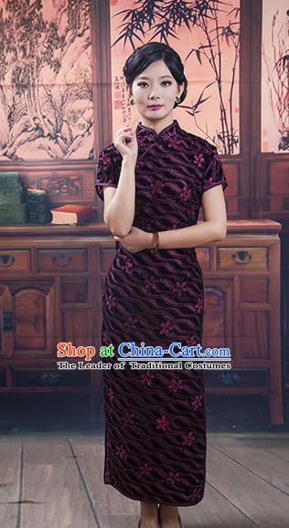 Traditional Ancient Chinese Republic of China Retro Cheongsam, Asian Chinese Chirpaur Embroidered Qipao Dress Clothing for Women