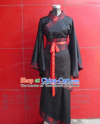 Traditional Ancient Chinese Young Lady Costume Black Curve Bottom, Asian Chinese Han Dynasty Princess Embroidered Clothing for Women