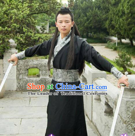 Traditional Ancient Chinese Swordsman Black Costume, Asian Chinese Song Dynasty Kawaler Clothing for Men