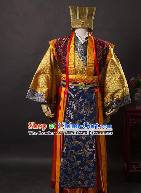 Traditional Ancient Chinese General Costume, Asian Chinese Three Kingdoms Emperor Clothing for Men