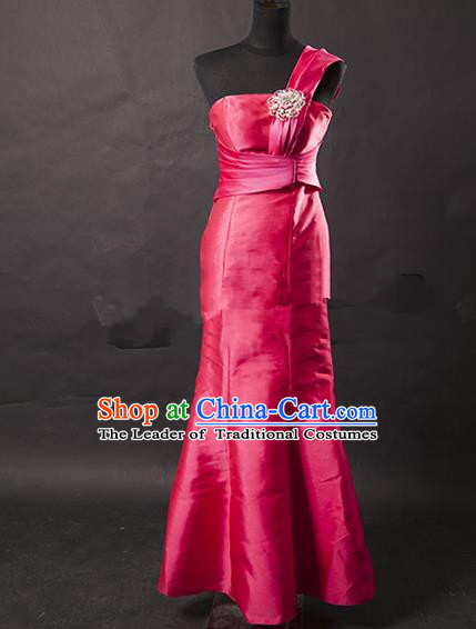 Traditional Chinese Modern Dancing Costume, Women Opening Classic Chorus Singing Group Rosy Satin Full Dress for Women