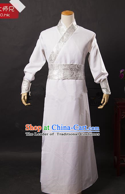 Traditional Ancient Chinese Swordsman Costume White Long Robe, Asian Chinese Han Dynasty Kawaler Clothing for Men