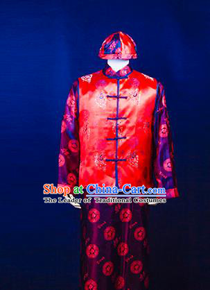 Traditional Ancient Chinese Manchu Prince Mandarin Jacket Costume, Asian Chinese Qing Dynasty Royal Highness Embroidered Clothing for Men