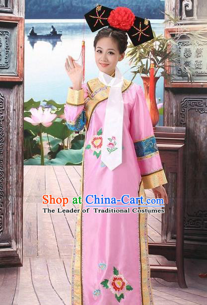 Traditional Ancient Chinese Manchu Palace Lady Pink Costume, Asian Chinese Qing Dynasty Princess Embroidered Dress Clothing for Women