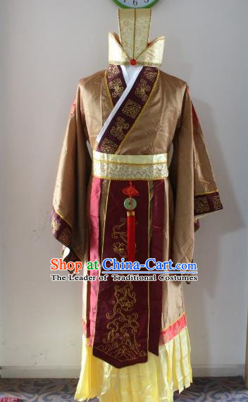 Traditional Ancient Chinese Prime Minister Costume, Asian Chinese Han Dynasty Emperor Robe Clothing for Men