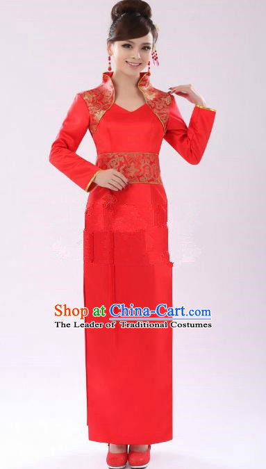 Traditional Ancient Chinese Republic of China Cheongsam Costume, Asian Chinese Red Silk Chirpaur Clothing for Women