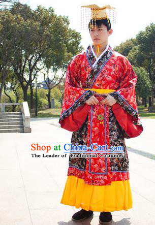 Traditional Ancient Chinese Emperor Costume, Asian Chinese Han Dynasty Majesty Clothing for Men