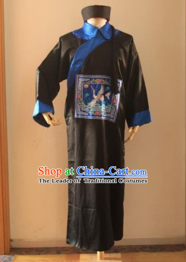 Asian China Ancient Qing Dynasty Royal Highness Costume, Traditional Chinese Manchu Minister Embroidered Black Robe Clothing for Men