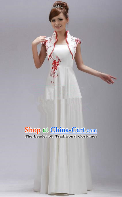 Traditional Chinese National Young Lady Qipao Costume, China Red Embroidered Cheongsam Dress for Women