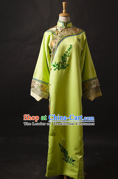 Traditional Ancient Chinese Manchu Palace Lady Costume, Asian Chinese Qing Dynasty Princess Embroidered Green Dress Clothing for Women