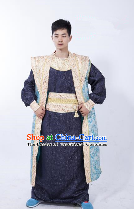 Traditional Ancient Chinese Prime Minister Costume, Asian Chinese Tang Dynasty Chancellor Clothing for Men