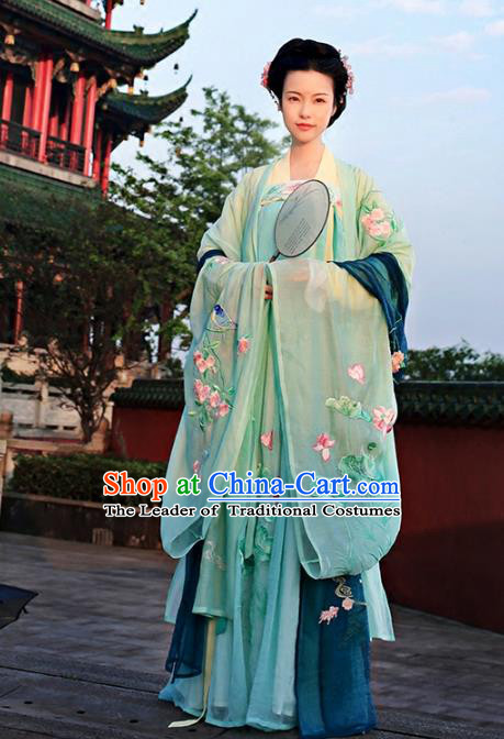 Asian Chinese Tang Dynasty Princess Embroidered Costume, Ancient China Young Lady Embroidery Wide Sleeve Cardigan