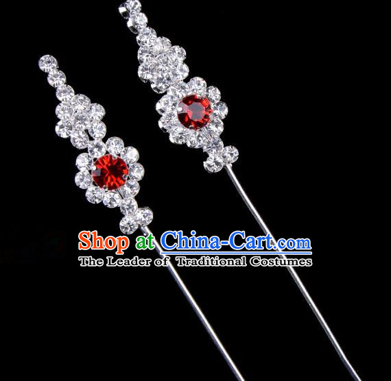 Traditional Beijing Opera Diva Hair Accessories Red Crystal Head Ornaments, Ancient Chinese Peking Opera Hua Tan Hairpins Hair Stick Headwear
