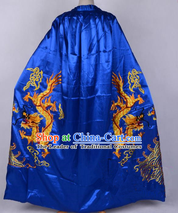 Top Grade Professional Beijing Opera Costume Emperor Embroidered Royalblue Cloak, Traditional Ancient Chinese Peking Opera King Embroidery Dragons Mantle Clothing