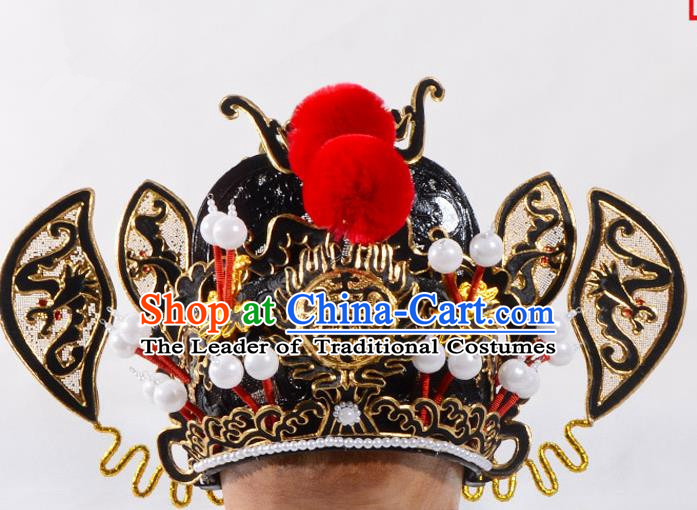 Traditional Beijing Opera Niche Hair Accessories Prince Helmet, Ancient Chinese Peking Opera Emperor Hat Headwear