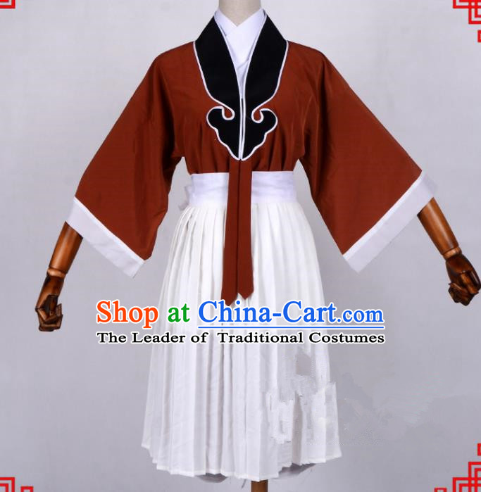 Traditional China Beijing Opera Pierrot Costume, Ancient Chinese Peking Opera Wu-Sheng Warrior Wu Dalang Clothing