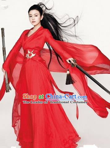 Traditional Ancient Chinese Han Dynasty Swordswoman Wedding Costume, Elegant Hanfu Clothing Chinese Fairy Red Dress Little Dragon Maiden Clothing