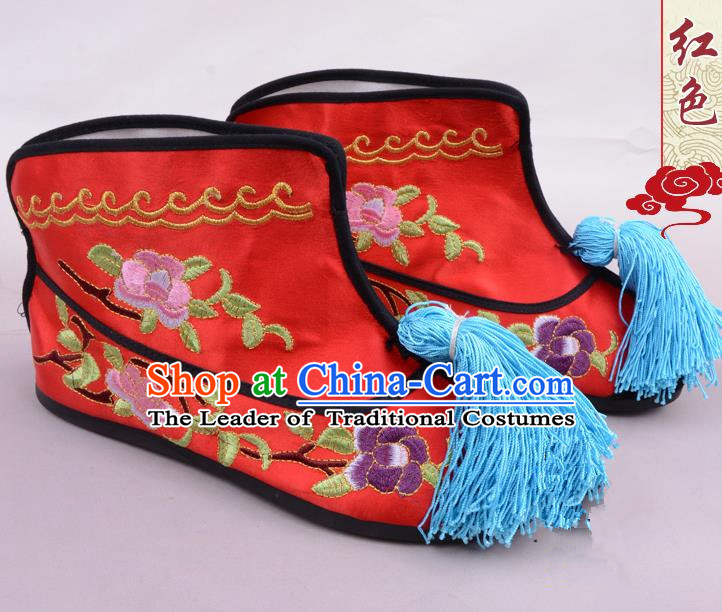 Traditional Beijing Opera Swordplay Embroidered Red Boots Young Lady Shoes, Ancient Chinese Peking Opera Blues Embroidery Peony Shoes
