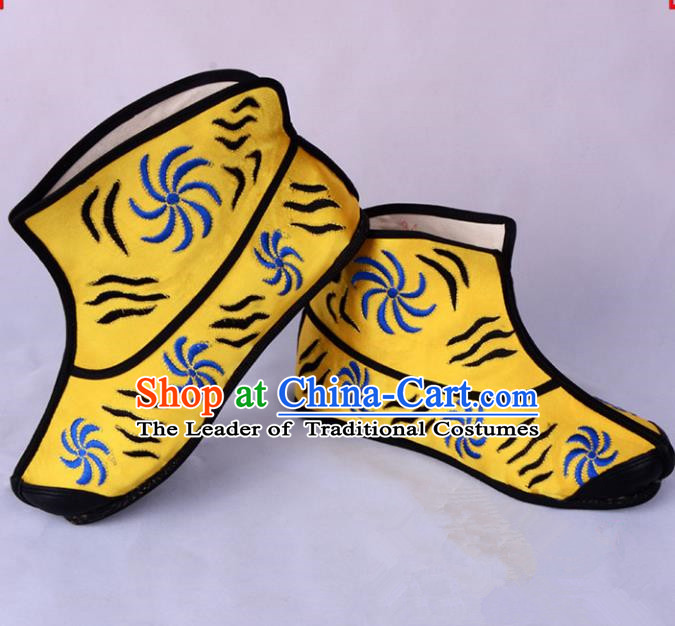 Traditional Beijing Opera Takefu Boots Handsome Monkey King Cloth Shoes, Ancient Chinese Peking Opera Wu-Sheng Boots