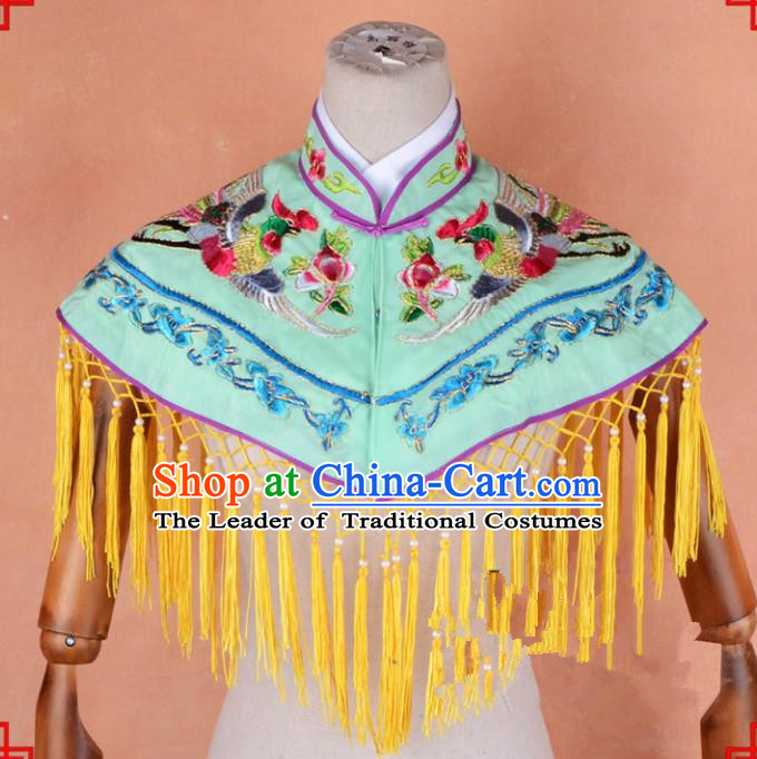 Top Grade Professional Beijing Opera Palace Lady Costume Hua Tan Green Embroidered Cloud Shoulder, Traditional Ancient Chinese Peking Opera Diva Embroidery Clothing