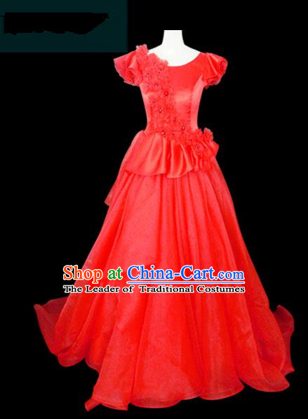 Traditional Chinese Modern Dancing Compere Performance Costume Chorus Singing Group Dance Wedding Red Dress for Women