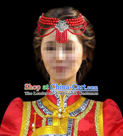 Traditional Chinese Mongol Nationality Hair Accessories, Chinese Mongolian Minority Nationality Bride Headband Headwear for Women