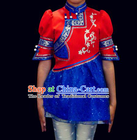 Traditional Chinese Mongol Nationality Costume Children Mongolian Robe, Chinese Mongolian Minority Nationality Dance Blue Veil Dress Clothing for Kids