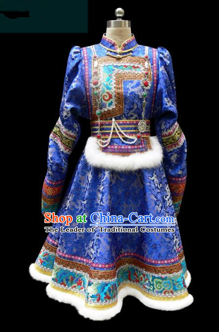 Traditional Chinese Mongol Nationality Costume Princess Blue Mongolian Robe, Chinese Mongolian Minority Nationality Dance Dress Clothing for Women