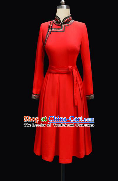 Traditional Chinese Mongol Nationality Costume Princess Red Mongolian Robe, Chinese Mongolian Minority Nationality Dance Dress Clothing for Women