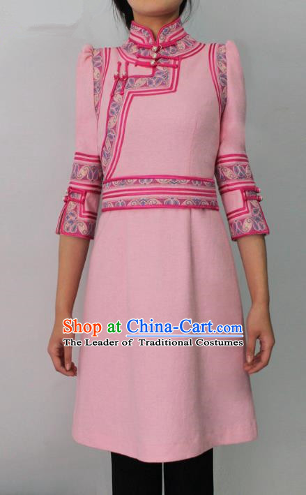 Traditional Chinese Mongol Nationality Costume Pink Short Dress Mongolian Robe, Chinese Mongolian Minority Nationality Dance Clothing for Women