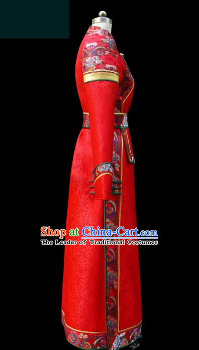 Traditional Chinese Mongol Nationality Costume Red Dress Wedding Mongolian Robe, Chinese Mongolian Minority Nationality Dance Clothing for Women