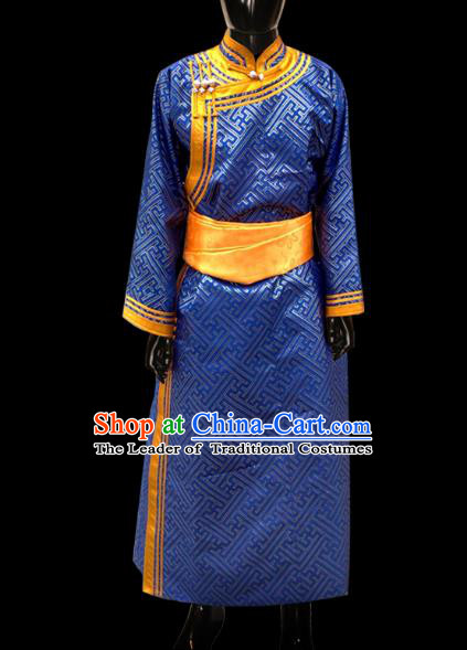 Traditional Chinese Mongol Nationality Dance Costume Wedding Clothing, Chinese Mongolian Minority Nationality Bridegroom Blue Mongolian Robe for Men