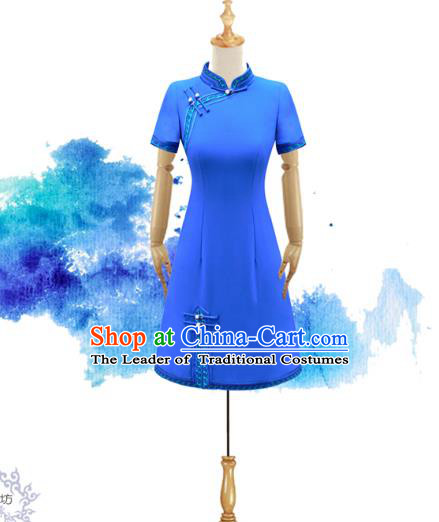 Traditional Chinese National Costume Elegant Hanfu Blue Dress, China Tang Suit Plated Buttons Chirpaur Cheongsam Qipao for Women