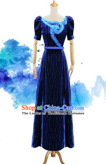 Traditional Chinese National Costume Elegant Hanfu Blue Velvet Dress, China Tang Suit Plated Buttons Chirpaur Cheongsam Qipao for Women