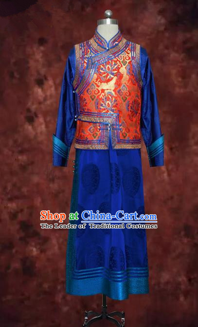 Traditional Chinese Mongol Nationality Dance Costume Mongolian Robe, Chinese Mongolian Minority Nationality Royal Highness Embroidery Costume for Men