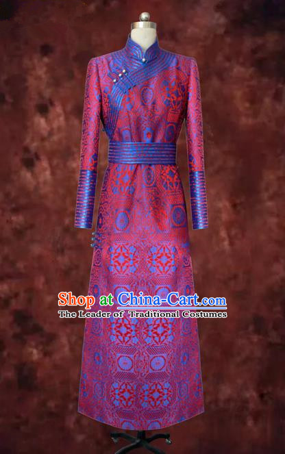 Traditional Chinese Mongol Nationality Dance Costume Rosy Mongolian Robe, Chinese Mongolian Minority Nationality Bride Embroidery Costume for Women