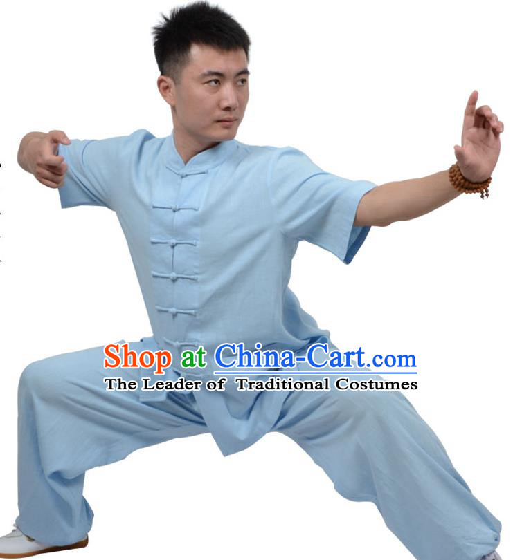 Top Kung Fu Linen Costume Martial Arts Costume Kung Fu Training Short Sleeve Blue Uniform, Gongfu Shaolin Wushu Tai Ji Plated Buttons Clothing for Women for Men