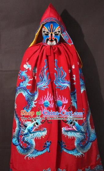 Traditional China Beijing Opera Costume Embroidery Dragon Cloak, Chinese Peking Opera General Red Embroidered Cape