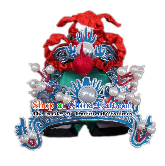 Traditional China Beijing Opera General Hats, Chinese Peking Opera Marshal Helmet Headwear