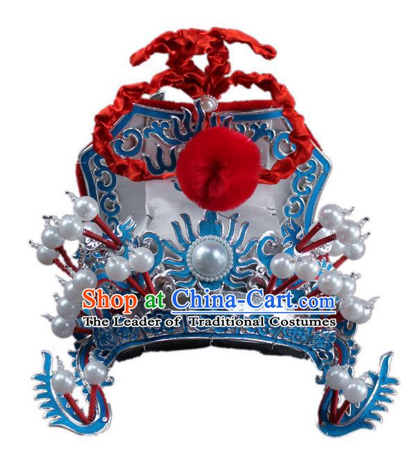 Traditional China Beijing Opera Marshal Hats, Chinese Peking Opera Royal Highness Helmet Headwear