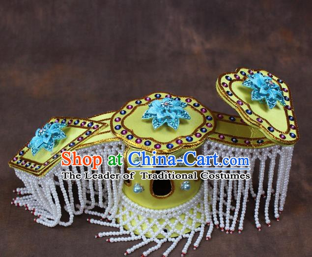 Traditional China Beijing Opera Actress Hair Accessories Tassel Head Coronet, Chinese Peking Opera Imperial Concubine Headwear