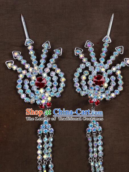 Traditional China Beijing Opera Actress Hair Accessories Hairpins, Chinese Peking Opera Diva Phoenix Step Shake Headwear