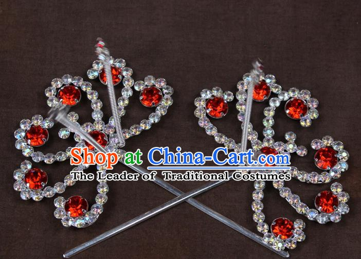 Traditional China Beijing Opera Actress Hair Accessories Hairpins, Chinese Peking Opera Diva Crystal Step Shake Headwear