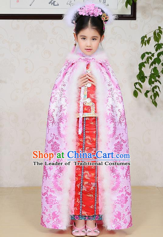 Traditional Ancient Chinese Qing Dynasty Manchu Princess Costume Embroidered Pink Cloak for Kids