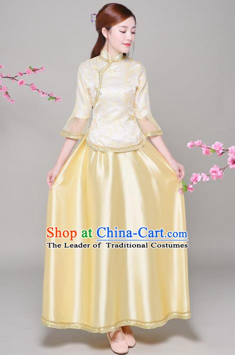 Traditional Chinese Republic of China Nobility Lady Clothing, China National Embroidered Yellow Blouse and Skirt for Women
