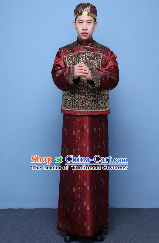 Traditional Ancient Chinese Qing Dynasty Prince Purplish Red Costume, China Manchu Nobility Childe Mandarin Jacket Clothing for Men