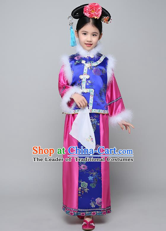 Traditional Ancient Chinese Qing Dynasty Manchu Lady Costume, Chinese Mandarin Princess Embroidered Clothing for Kids