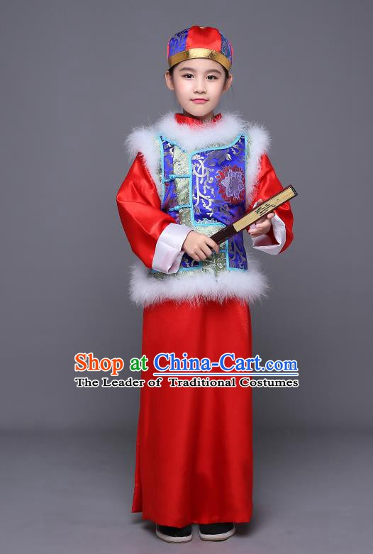 Traditional Ancient Chinese Qing Dynasty Manchu Prince Costume, Chinese Mandarin Nobility Childe Embroidered Clothing for Kids