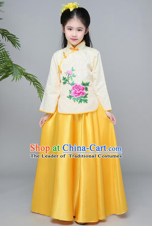 Traditional Chinese Republic of China Children Clothing, China National Embroidered Yellow Cheongsam Blouse and Skirt for Kids
