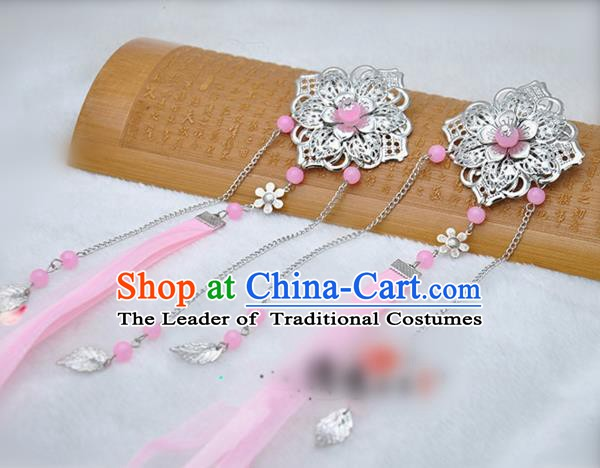 Traditional Chinese Handmade Hair Accessories Princess Hairpins Pink Ribbon Hair Stick for Women